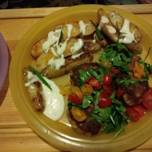 Crab Cakes Under a Meyer Lemon-Dressed Arugula Salad with Fingerling Potatoes and Lemon Aioli finished plate