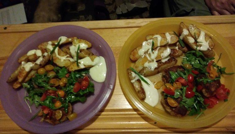 Crab Cakes Under a Meyer Lemon-Dressed Arugula Salad with Fingerling Potatoes and Lemon Aioli finished plates