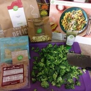 """Little Ears"" Pasta (Orecchiette pasta) with Italian Pork Sausage, Broccoli, and Pesto ingredients"