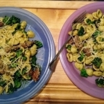"""Little Ears"" Pasta (Orecchiette pasta) with Italian Pork Sausage, Broccoli, and Pesto finished plates"