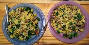 """Little Ears"" Pasta (Orecchiette pasta) with Italian Pork Sausage, Broccoli, and Pesto finished plates"