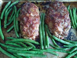 Meatloaf baked with green beans