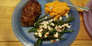 Meatloaf Balsamico with Sweet Potato Mash and Green Beans finished plate