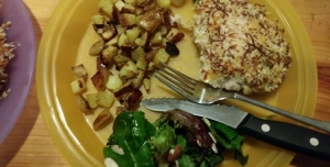 Presto Pesto Panko Chicken with Roasted Potatoes and Green Salad finished plate