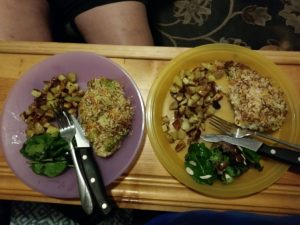 Presto Pesto Panko Chicken with Roasted Potatoes and Green Salad finished plates