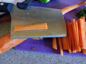 Sliced carrot fries