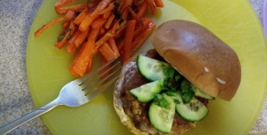 Banh Mi Burgers with Vietnamese style Lemongrass Pork and Sriracha Mayo finished plate