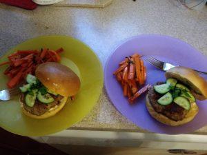 Banh Mi Burgers with Vietnamese style Lemongrass Pork and Sriracha Mayo finished plates