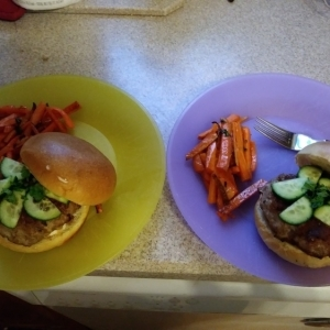 Banh Mi Burgers with Vietnamese style Lemongrass Pork and Sriracha Mayo finished plates