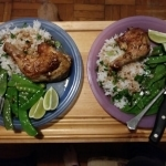 Thai Lemongrass Chicken Legs with Jasmine Rice and Snow Peas finished plates