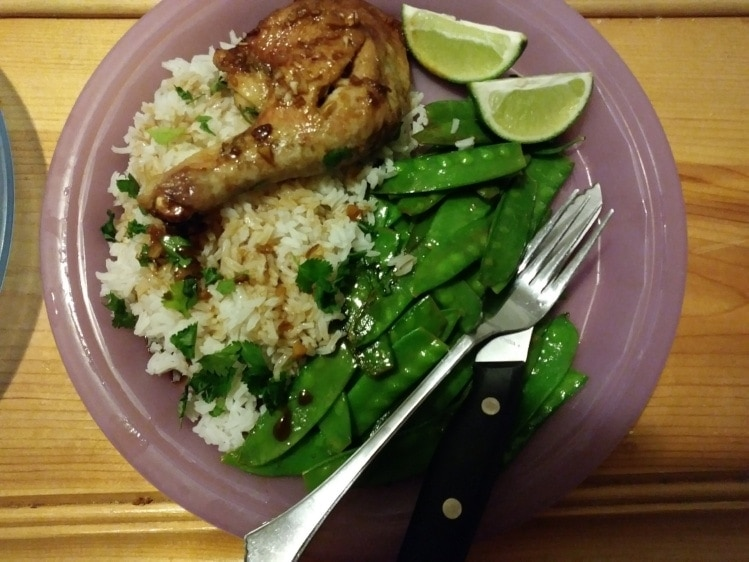 Thai Lemongrass Chicken Legs with Jasmine Rice and Snow Peas finished plate