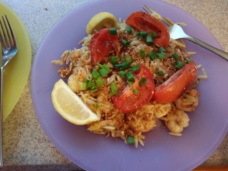 Tuscan-Spiced Shrimp and Orzo with Roasted Tomatoes and Crispy Breadcrumbs finished plate