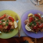 Tuscan-Spiced Shrimp and Orzo with Roasted Tomatoes and Crispy Breadcrumbs finished plates
