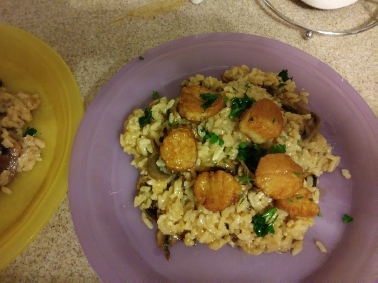 Fresh Scallops Over Truffled Mushroom Risotto with a Brown Butter Herb Sauce finished plate