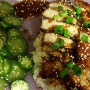 Japanese Style Hoisin Panko Pork Cutlets with Sesame Cucumber Salad and Jasmine Rice 8