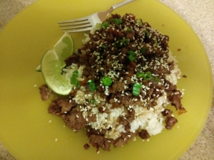 Sesame Sriracha Beef Stir Fry plate