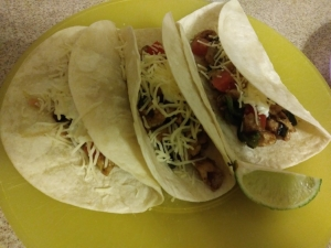 Chicken tomatillo tacos finished plate