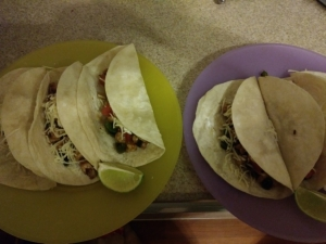 Chicken tomatillo tacos finished plates