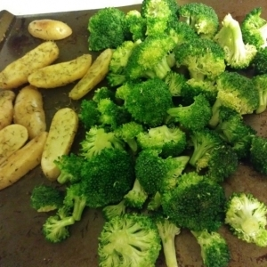fingerling potatoes and broccoli