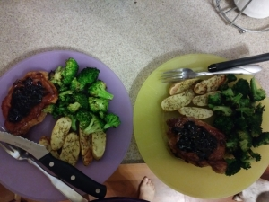 Cherry balsamic pork chops finished plates