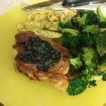 Cherry balsamic pork chops finished plate