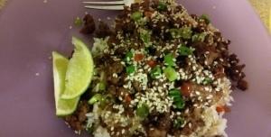 Sesame sriracha beef stir fry finished plate