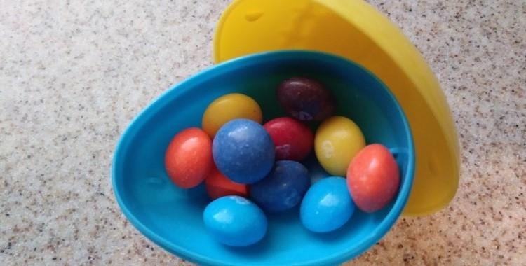 Skittles in a plastic egg