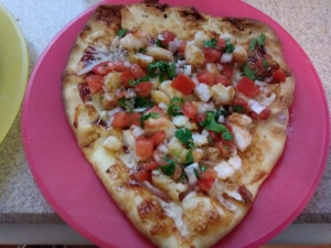 BBQ Shrimp Pizza finished plate