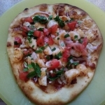 BBQ Shrimp Pizza finished plate