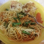 Chow Mein Cod Cakes finished plate