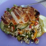 Seared Chicken Over Couscous finished plate