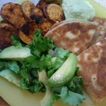 Roasted Sweet Potato Quesadillas finished plate