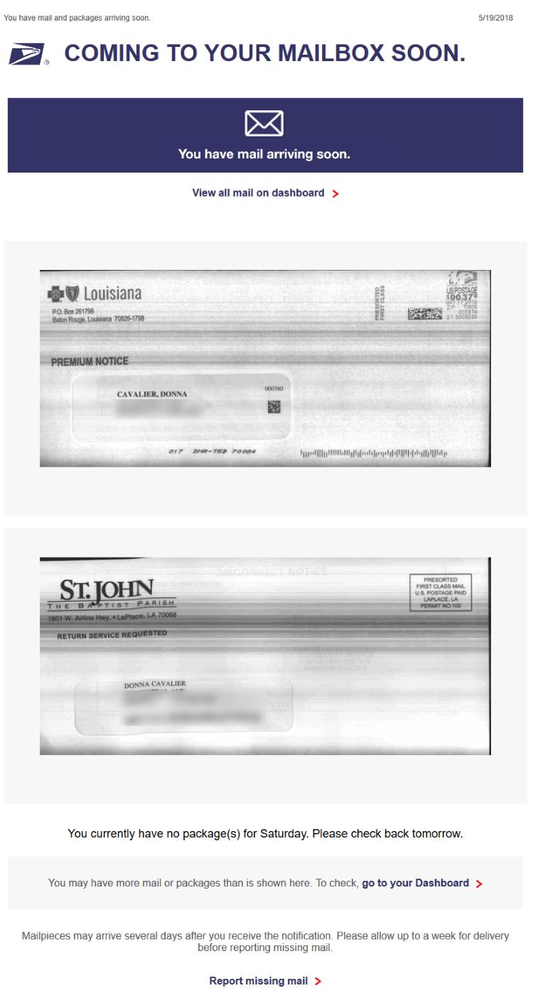 USPS Informed Delivery email