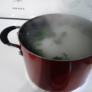 Cooking orzo and kale