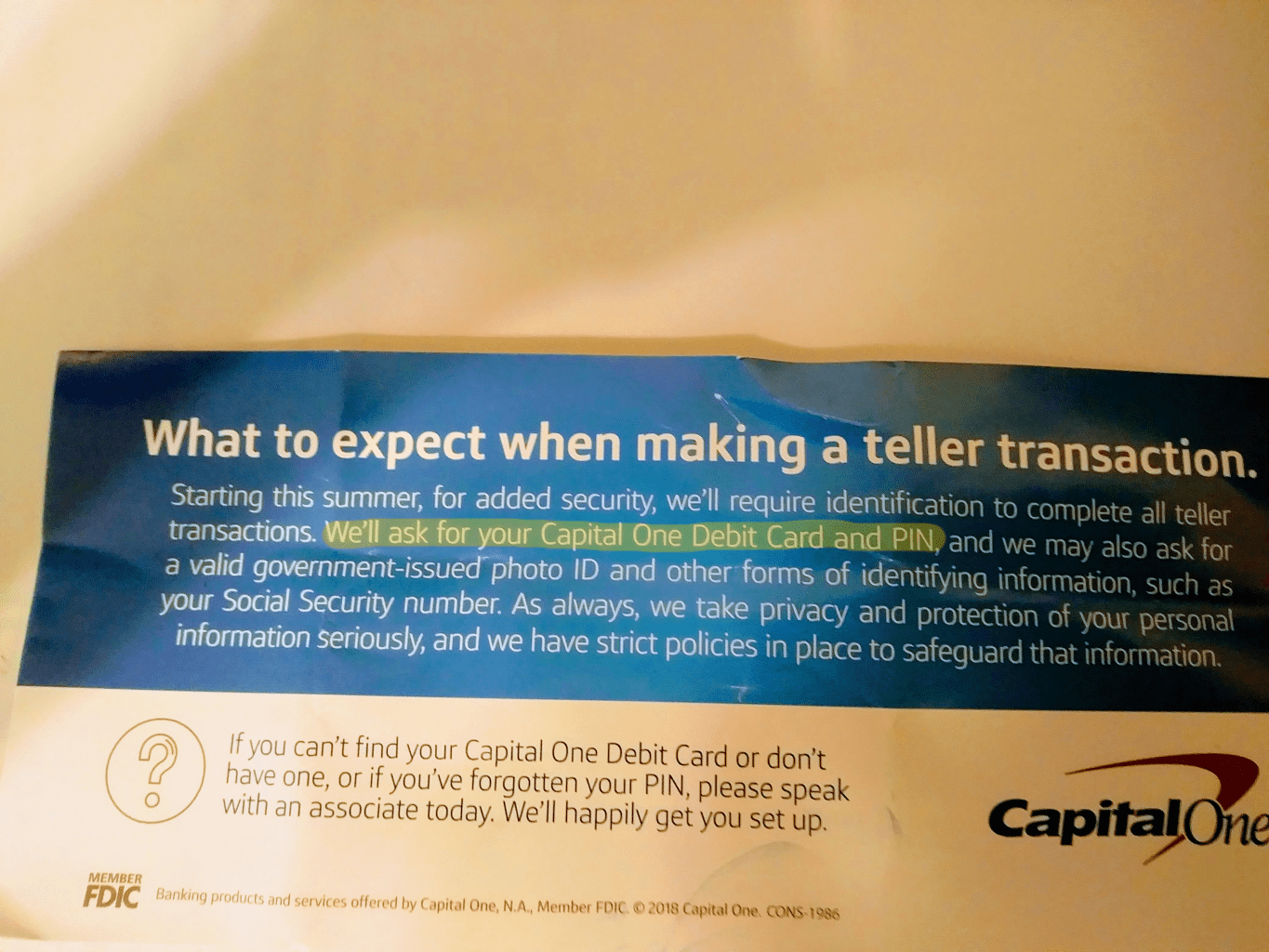 Capital One new rules