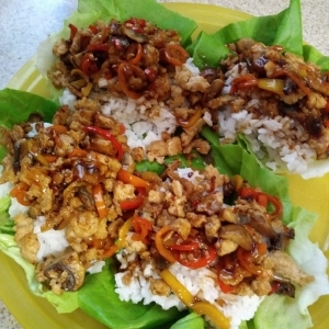 Sweet and Spicy Chicken Lettuce Cups meal