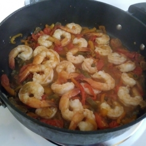 Shrimp are cooked