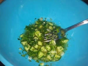Add cucumbers and parsley
