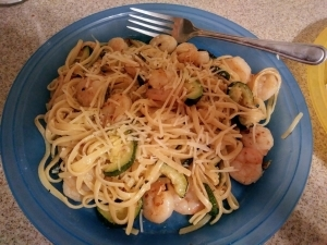 Shrimp Zucchini Linguini meal