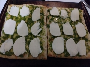 Add mozzarella slices to flatbreads