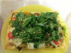 Heirloom Tomato Pesto Flatbreads finished plate