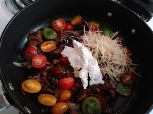 Add sour cream, parmesan, and vegetable stock concentrate