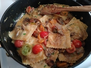 Add the ravioli to the pan