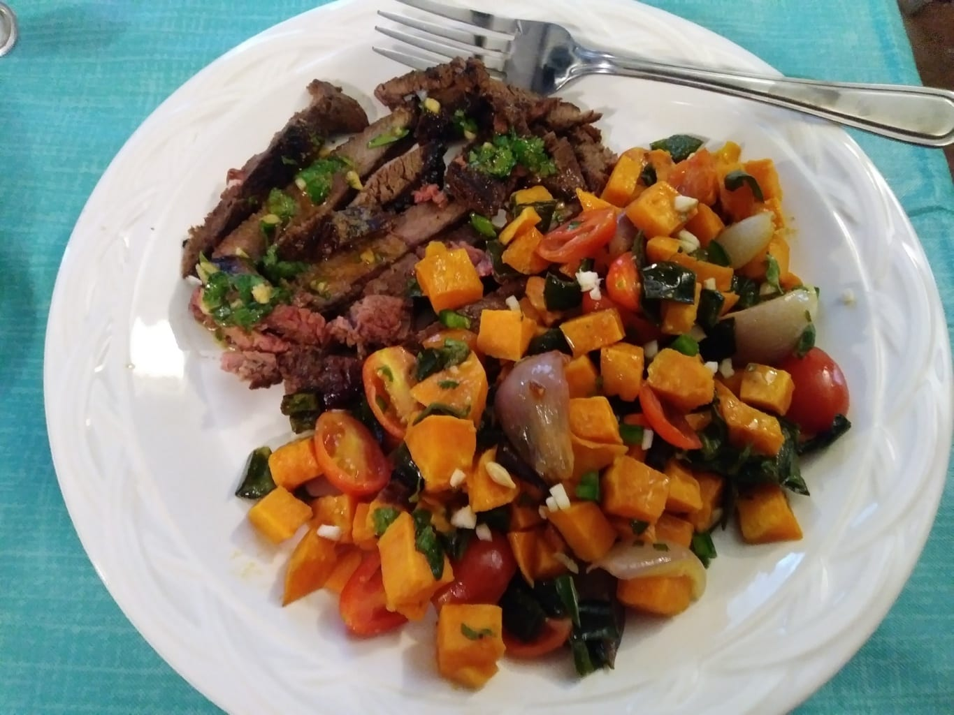 Argentine Chimichurri Steak finished meal
