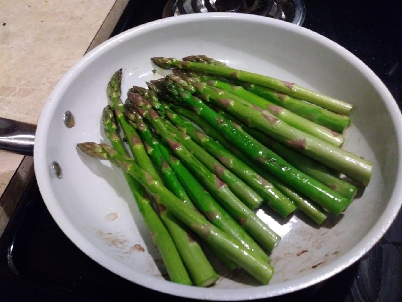 Pan fry the asparagus