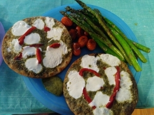 Pesto Pizzettes finished plate
