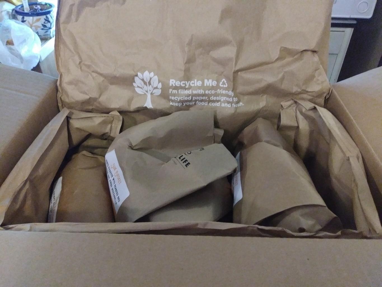 Sun Basket meal kit box opened