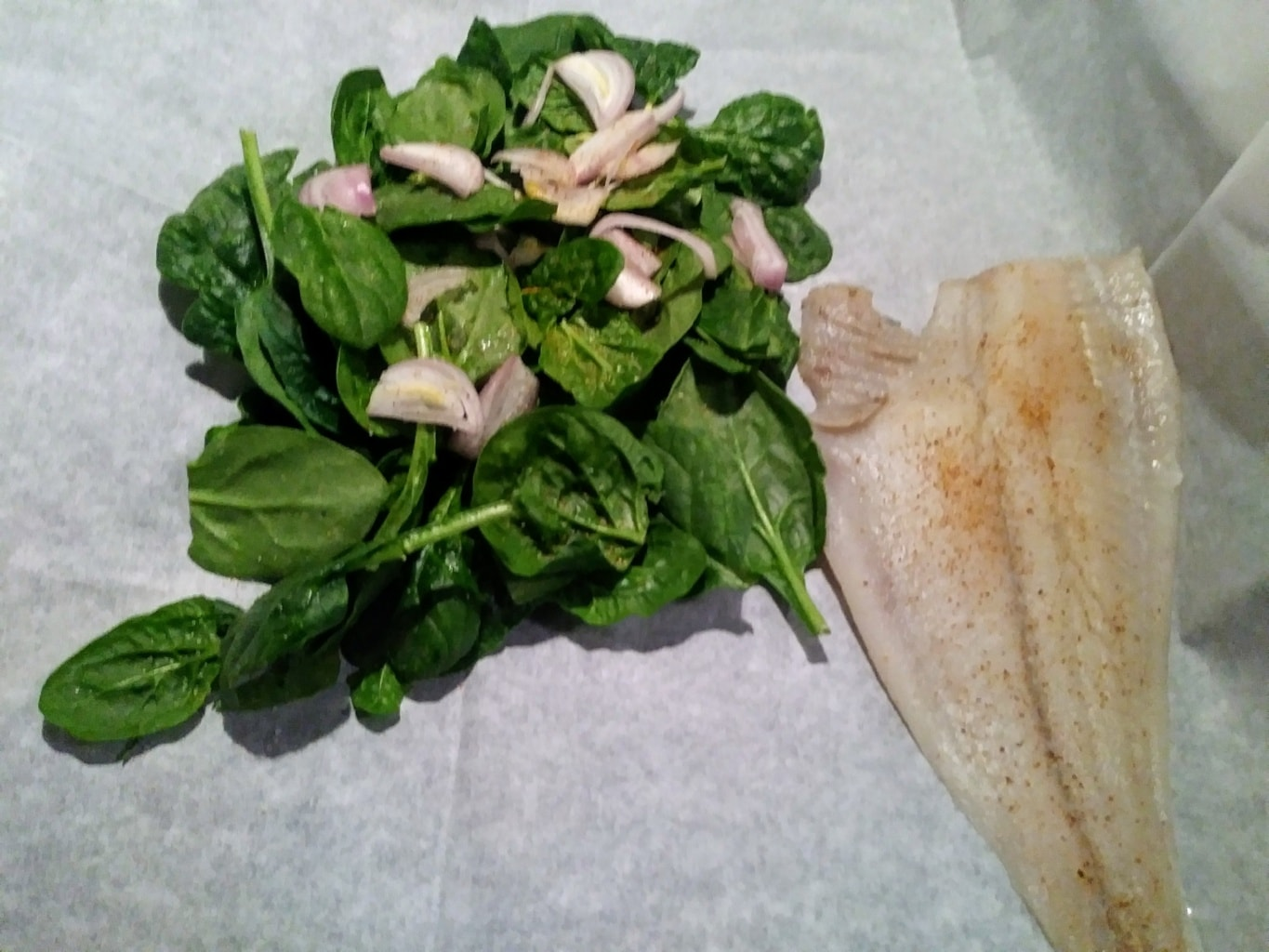 Spinach, shallot, sole