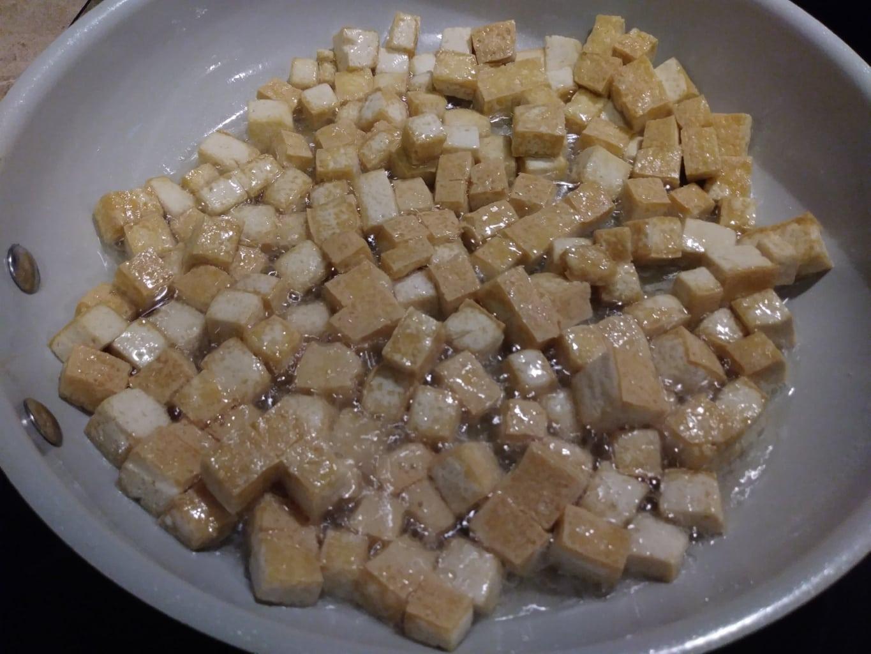 Browning the tofu