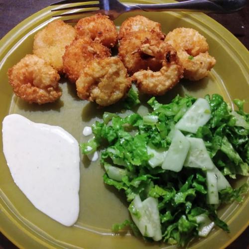Coconut shrimp finished plate
